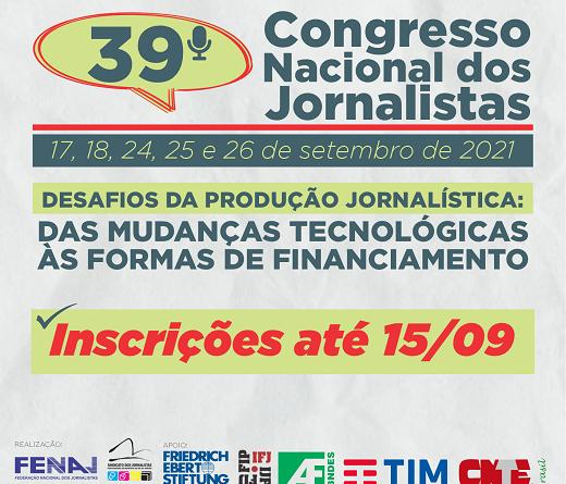 Jornalistas brasileiros vão discutir taxação de plataformas digitais no 39º Congresso da FENAJ